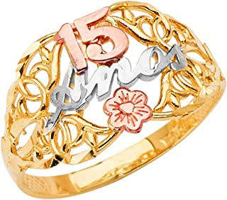 Ioka -14K Solid Tri Color Gold Sweet 15 Anos 15 Years Birthday Quinceanera Flower Ring