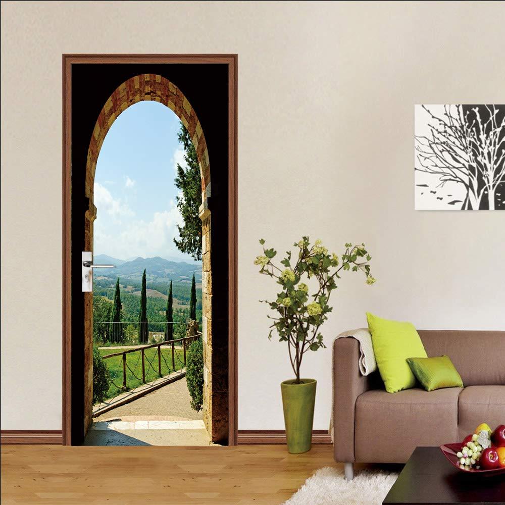 DEENLI Pegatinas Interiores Puerta Puertas, Mundo Verde Fuera del Arco De Piedra,Pegatinas Autoadhesivas Puertas: Amazon.es: Hogar