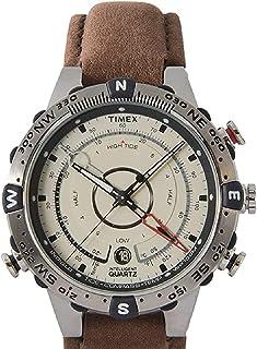 Timex T2N721 هوشمند کوارتز قطب نما جزر و مد دمای نقره ای بند بند قهوه ای