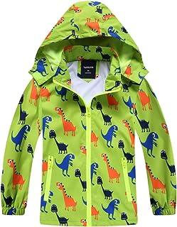 IjnUhb Waterproof Hooded Jacket for Boys Girls,Kids Raincoats Outdoor Windbreaker Dinosaur Rain Jacket (Green,4T)