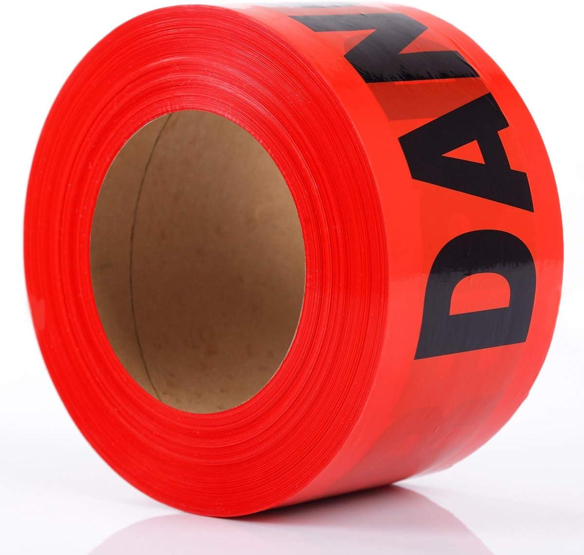 KINGPLAST Red DANGER Tape Roll - 3 Inch 1000 feet Non-Adhesive C