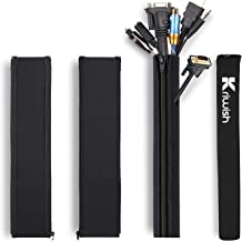 Kriwish (4 Pack) Cable Management Sleeve Black, Cord Management Cable Sleeve for All Wires, Best for TV, Office, Home, Fle...