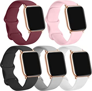 [5 Pack] Silicone Bands Compatible for Apple Watch Bands 38mm 40mm, Sport Band Compatible for iWatch Series 6 5 4 3 SE, Wi...
