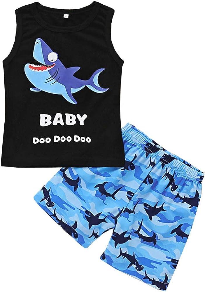 AmzBarley Baby Boys Summer Clothes Sharks Tank Top + Shorts Set Toddler Kids Sleeveless Outfits Set