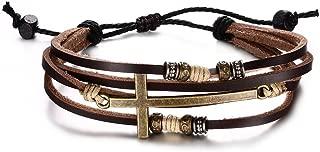 Religious Jewelry Handmade Braided Genuine Rope Leather Cross Adjustable Bracelet for Men Women