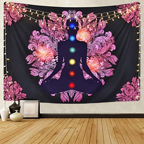 Tapiz de chakra con siete chakras para yoga, meditación, fondo negro, para colgar en la pared para habitación