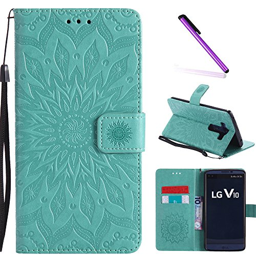 LG V10 Case,LEECOCO Fancy Embossed Floral Pattern Wallet Case with Card/Cash Slots [Kickstand] Shockproof Premium PU Leather Flip Case Cover for LG V10 with 1 x Stylus Pen Mandala Green