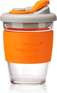 MOCHIC CUP Reusable Glass Coffee Travel Mug with Lid and Non-slip Sleeve Dishwasher and Microwave Safe Cup Portable Durable Drinking Tumbler Eco-Friendly BPA-Free (Orange,12 OZ)