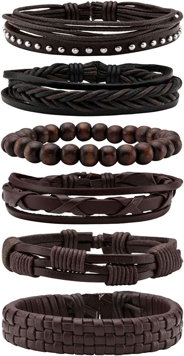 Eigso Unisex PU Leather Punk Bangles Cuff Set for Men Women Wooden Bead Link Braclet Snap Adjustable