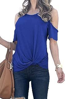 SZIVYSHI Short Sleeve Round Neck Asymmetrical Draped Drape Ruched Front Cold Open Shoulder T-Shirt Tee Blouse Shirt Top