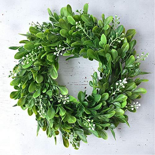 30cm künstlicher grüner Kranz dekorativer Wandkranz Tür Kranz,Türkranz, künstliche Pflanzengirlande mit Blumen und grünen Blättern für Haustür Wand Kamin Fenster Hochzeit im Freien