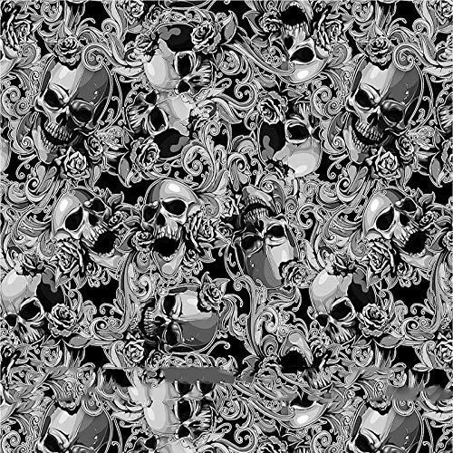 L.J.JZDY Wassertransferfolie, 50 x 100 cm, schwarzer Totenkopf, Wassertransferdruck, Tauchlaser, Hydrographischer Film für Auto, Motorrad, Heimdekoration