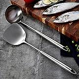 ABRC Acciaio Inox 304 siviera Turner, Argento mestolo da Cucina Manico Pala Utensili da Cucina Utensili Parete Appeso