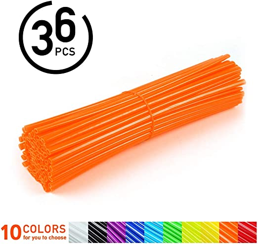 36 Stücke Kunststoff Rad Speichenschutz Motocross Felgen Skins Abdeckungen Offroad Motorrad Schutz Wraps Kit Grün Rot Orange Hellgelb Gelb Blau Lila Schwarz Weiß Optional 黑色 Auto