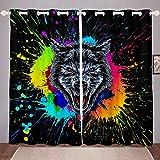 Cortinas de ventana con diseño de lobo con teñido anudado, diseño de animales del desierto, para niños, niñas, salpicaduras, graffiti Hip Hop, decoración de sala de estar, color negro