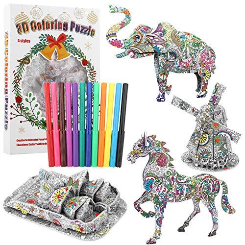 POOPHUNS Juego de Rompecabezas de Colorear 3D,DIY Arts Crafts Puzzle Kit,Rompecabezas de Color 3D para niños de 6-12 años,Regalo Navidad de Cumpleaño con 4 Rompecabezas de para Niños Niñas