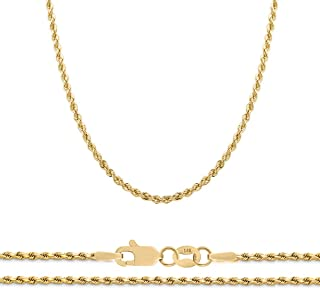 14K Yellow Gold 2mm Diamond Cut Rope Chain Necklace, 16