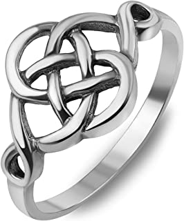 925 Sterling Silver Woven Celtic Love Knot Irish Cut Out Infinity Band Ring Unisex, Size Variations