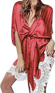 8af21abbc7 iLXHD Women Satin Bath Robe V-Neck Babydoll Nightgown 1 2 Sleeve Sleepwear  Lingerie