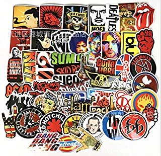 Astra Gourmet Punk Rock Band Stickers 52pcs Stickers Pack Rock and Roll Music Stickers Vinyl Waterproof Decals for Electric Guitar Bass Drum Laptop Skateboard Motorcycle[52PCS]