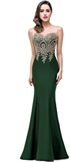 7119d444648e Babyonline Mermaid Evening Dress for Women Formal Lace Appliques Long Prom  Dress
