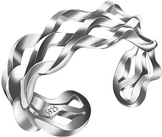 لالينلي 14 ك مطلي بالذهب 925 الفضة الاسترليني سلسلة تويست حبل بيان حلقة الفرقة للنساء الرجال (توي)