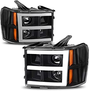 AUTOSAVER88 Headlight Assembly for 2007-2013 GMC Sierra 1500/2007-2014 Sierra 2500HD 3500HD LED Tube Projector Headlights Black Housing Amber Reflector, Driver & Passenger Side