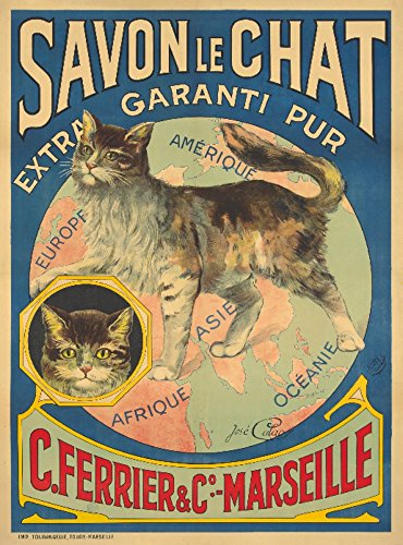 Savon le Chat Vintage Poster (artist: Calaos) France c. 1895 (24x36 Giclee Gallery Print, Wall Decor Travel Poster)