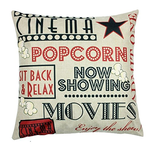 YOENYY Movie Theater Cinema Personalized Home Decor Design Throw Pillow Cover Pillow Case 18 x 18 Inch Cotton Linen for Sofa Set of 4