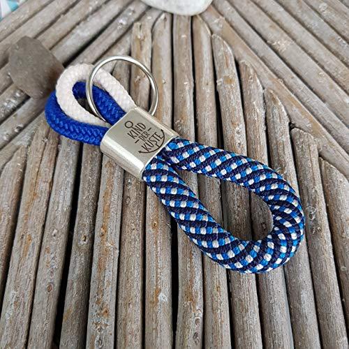 Schlüsselanhänger Segelseil - Kletterseil, Schlüsselband, Glaube Liebe Hoffnung Anker maritim segelseil, handmade, Taschenbaumler, dunkelgrau, blau, weiß