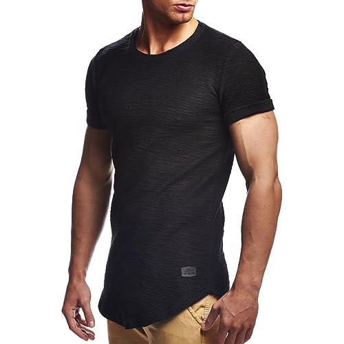 946468bcd23c5 LEIF NELSON de Manga Corta Cuello Redondo Hombres de Gran tamaño Camiseta  con Capucha de Cuello