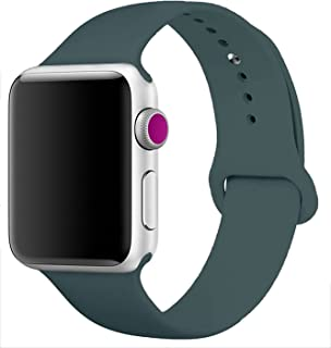 iMOMO Sport Band Compatible with iWatch, Soft Silicone Sport Band [3 Pieces for 2 Lengths] Large/Small Wrist Strap Replacement for iWatch 1 2 3 4 All Models 38mm /40mm - Dark Teal (Dark Olive)