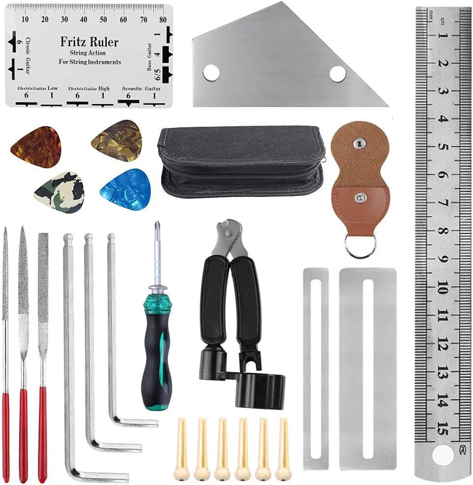 Kit de reparación de guitarra, kit de herramientas de mantenimiento de guitarra, regla de guitarra, enrollador de cuerdas, accesorios para guitarra, regalos, guitarra/bajo/mandolina/banjo