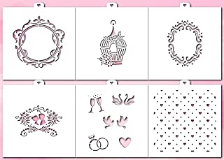 Cookie and Craft Stencil Set Wedding, 6 pcs: hearts, monogram, cage, flowers, carved frame, silhouette, lovers
