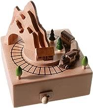 Colorzonesd Wood Color Building Shape Beech Wooden Handmade Clockwork Music Box Crafts (C)