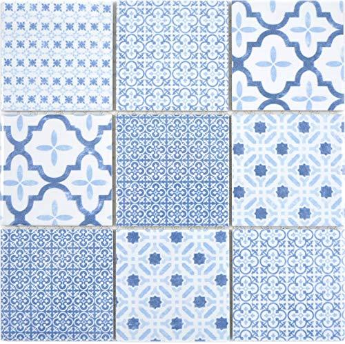 Mozaïektegel keramiek retro vintage blauw wit keuken tegel keuken achterwand mozaïekwand wandbekleding muurtegel   10 mozaïekmatten