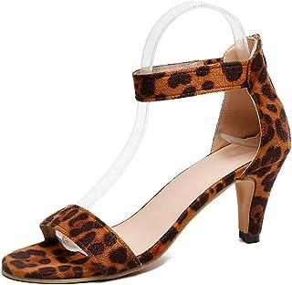 cf46ef62 Sandalias Mujer de Tacón Medio Verano Zapatos con Correa en El Tobillo  Hebilla Zapatillas de Vestir