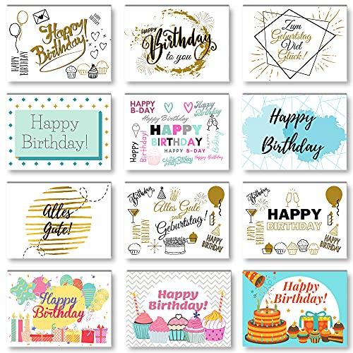 Domelo Geburtstagskarten 12er Set mit Umschlag, Happy Birthday Postkarten, Kraftpapier Karten zum Geburtstag, Geburtstagskarte für Mann/ Frau/ Kinder, Postkarte als Grußkarten, (Set 1)