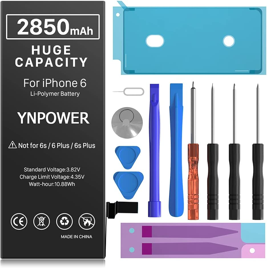 2850mAh YNPOWER Upgraded High Capacity Battery for iPhone Model 6 / 6G 0 Cycle Replacement Battery Compatible with iPhone 6 / 6G, with Professional Easy Repair Tool Kit (24 Month Warranty)
