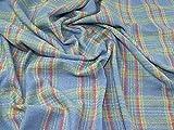 Lady McElroy Tweed Karomuster Stoff blau mehrfarbig –