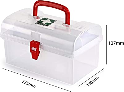 PYU ENJOY SHOPPING PYU JOY SHOPPING Plastic medical box,Multi Utility Storage with Handle,Portable Double Layer Medical Storage Box,First Aid Kit Medicine Box,Travel Medical Storage Box Pill splitter,