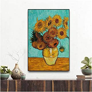 Decoración del hogar Van Gogh Golden Sunflower Poster Print Florero Floral Pintura al óleo sobre lienzo Imagen de pared moderna para pasillo - 50x70cm Sin marco