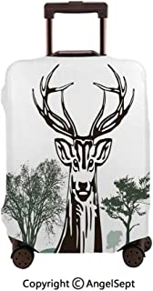 Washable Polyster Travel Luggage Protector,Deer Moose with Trees Silhouettes outline of Village Mountain Fall Forest,26x37.8inches,Fashion Baggage Suitcase Cover