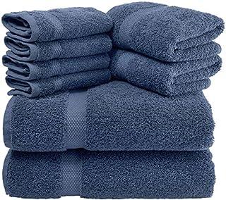 White Classic Luxury 8 Piece Bath Towel Set - 700 GSM Cotton Absorbent Towels - 2 Bath Towels, 2 Hand Towels, 4 Washcloths, (Navy Blue)
