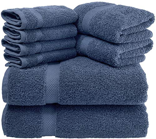 White Classic Luxury 8 Piece Bath Towel Set - 700 GSM Cotton Hotel Quality Towels - 2 Bath Towels, 2 Hand Towels, 4 Washcloths (Navy Blue, 8 Pack)