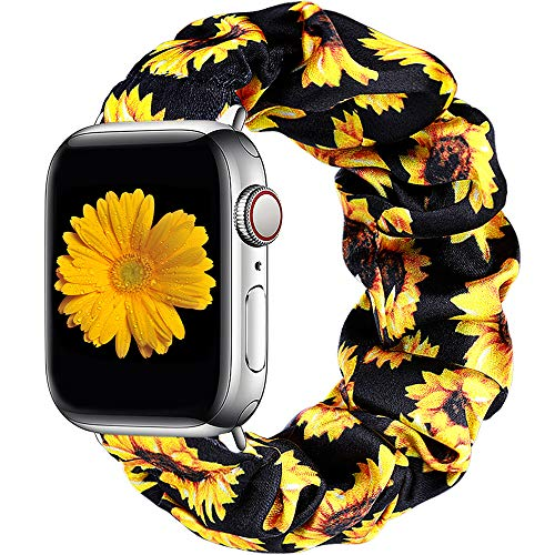 Easuny Scrunchie Bands Compatible with Apple Watch SE Series 6 40mm Women - Soft Cloth Scrunchy Elastic Bracelet Wristband Strap Replacement for iWatch 38mm for Girls Series 3 2 1,Sunflower Small