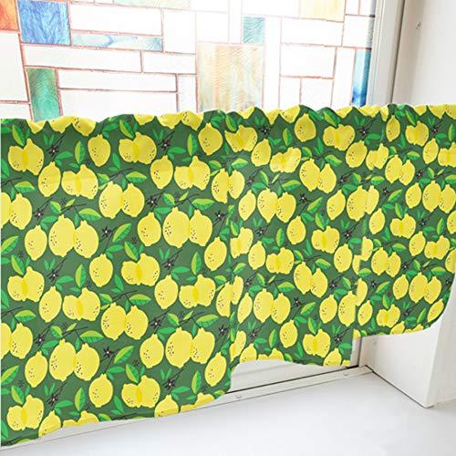 のぼり屋工房 カフェカーテン 緑・40538 W800×H450mm カフェカーテン レモン 800×450mm 緑・40538