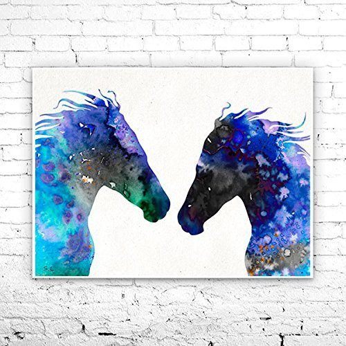 Pen and Ink PRINT Watercolor Painting Art by Iwakoshi Horse Art Horselovers Art,Wall Decor Gift Blue And Brown Decor Horse Drawing