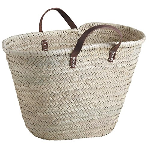 Aubry Gaspard Hand Wattled Swim Beach Bag Shopping Basket Palm Fibre