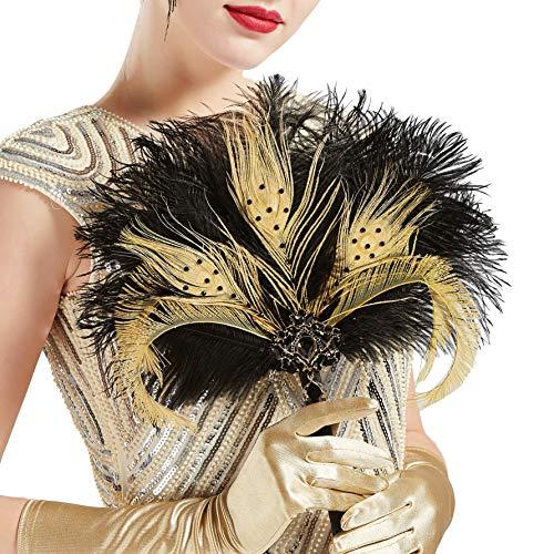 Coucoland Feder Blumenstrauß Hochzeit Braut Brautjungfer Bouquet 20er Jahre Feder Handfächer Accessoires Damen 1920s Gatsby Kostüm Zubehör (Schwarz Gold)